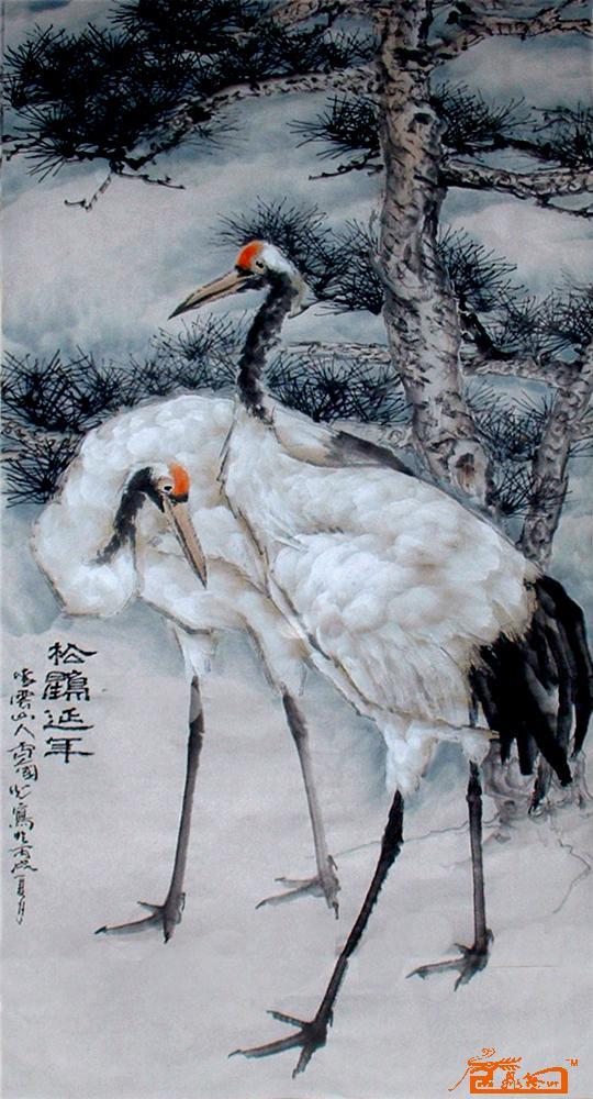名家 卢国光 国画 - 松鹤延年