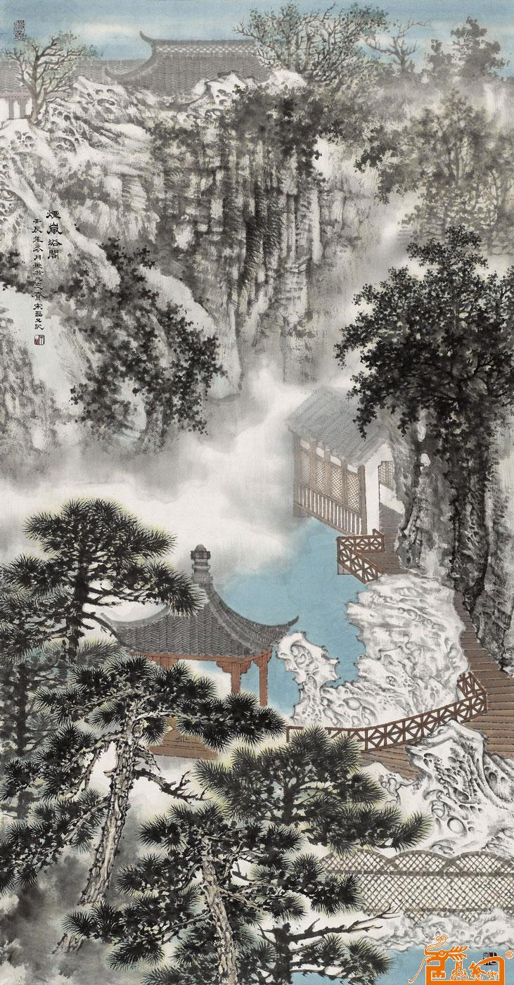 壁纸 风景 国画 旅游 瀑布 山水 桌面 731_1400 竖版 竖屏 手机